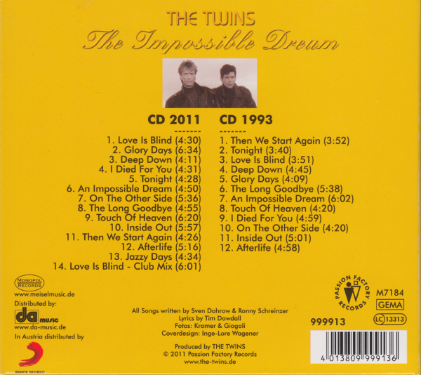 The Twins (CD) The Impossible Dream